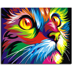 DIY Paint By Numbers - Abstract Colored Cat Face-Gift-Hut