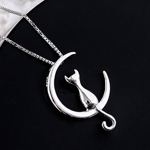 Hot Fashion Silver color Moon Cat Necklaces Pendant Long Kitty Necklace For Women-Gift-Hut