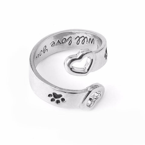 I Will Love You Forever Letter Curved Pet Paw Prints Rings Dog Cat Memorial Black Enamel Ring Couple Jewelry-Gift-Hut