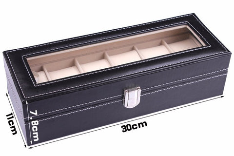 Leather 6 Slot Watch Display Box-Gift-Hut