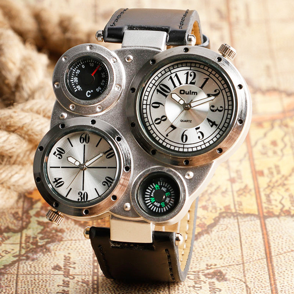 Compass Thermometer Four Dial Steampunk Wrist Watch