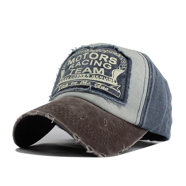 Motor Racing Baseball Cap - Coffee / Navy