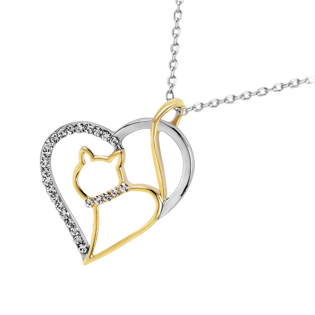 Fashion  Silver Color Jewelry Gold color Cat Heart Pendant Necklace Women Girls Party Gift 2017