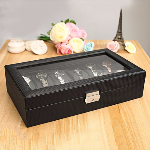 Carbon Fibre 12 Slot Watch Display Case-Gift-Hut