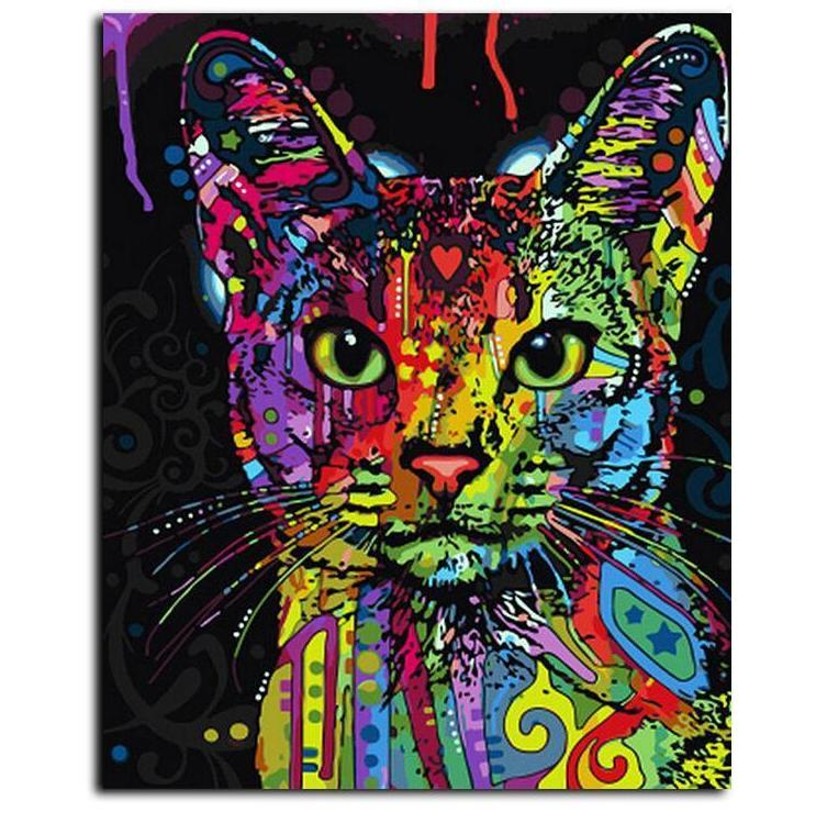 DIY Paint By Numbers - Abstract Colored Cat-Gift-Hut