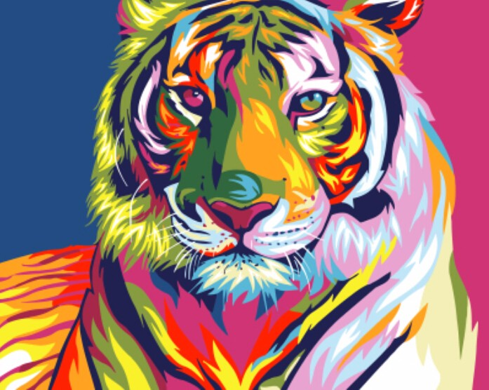 DIY Paint By Numbers - Abstract Colorful Tiger