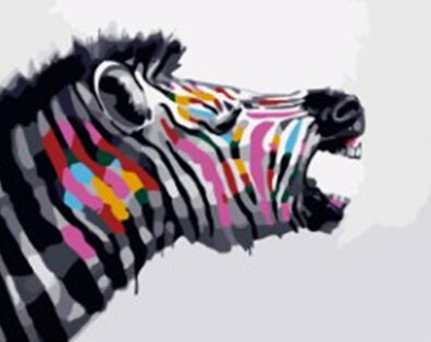 DIY Paint By Numbers - Abstract Colored Zebra-Gift-Hut