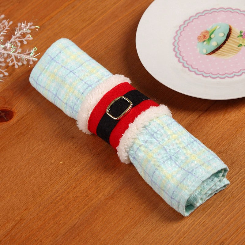 Santa Claus Christmas Dinner Tableware Decoration Napkin Holders (4pcs )-Gift-Hut