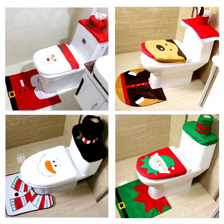 Christmas Themed Toilet Seat Cover And Rug Bathroom Set 1pc