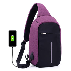Anti-Theft USB Charging Travel Shoulder/Chest Bag