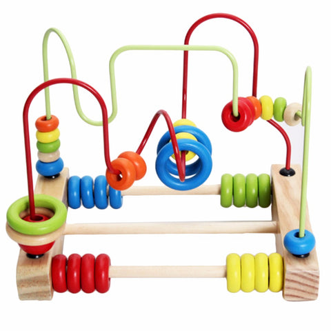 Image of Bead Abacus Wire Maze Roller Coaster Wooden Educational Childrens Toy-Gift-Hut