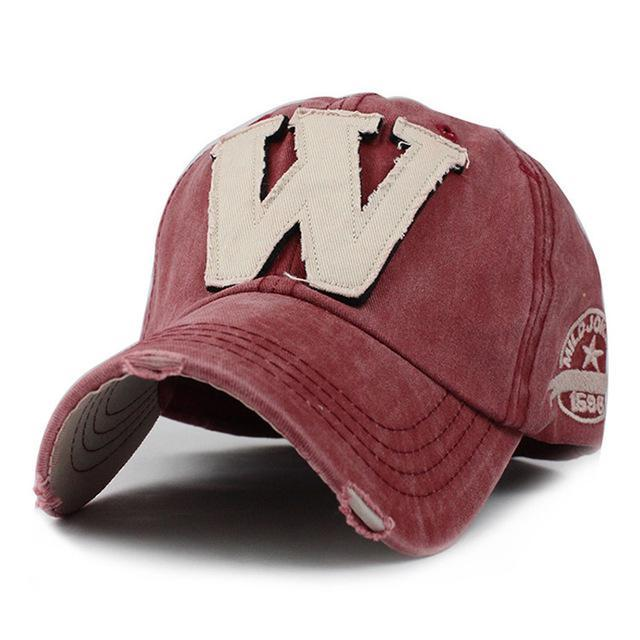 W Embroidered Baseball Cap - Red