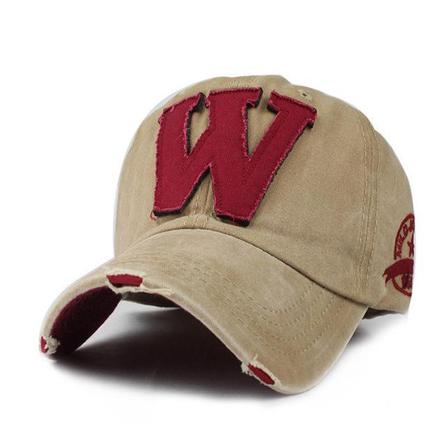 W Embroidered Baseball Cap - Khaki-Gift-Hut