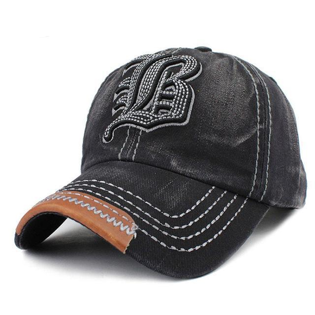 B Embroidered Baseball Cap - Black-Gift-Hut