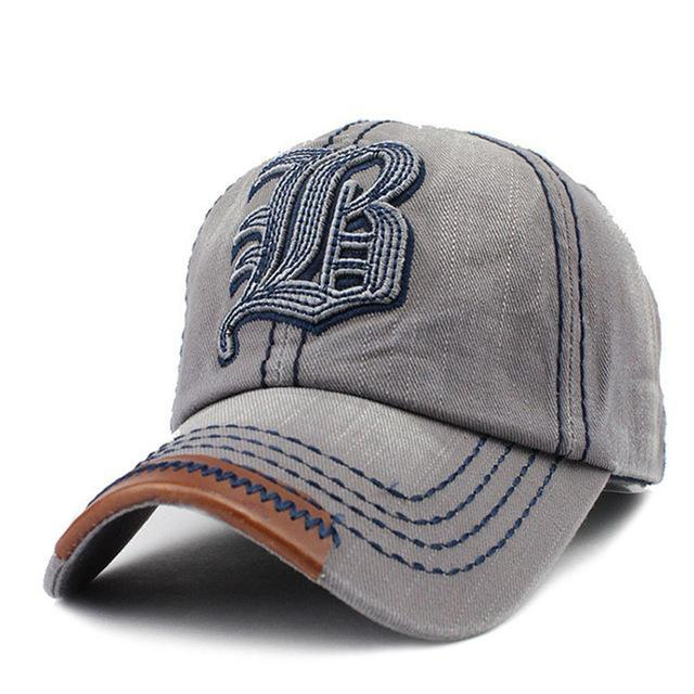 B Embroidered Baseball Cap - Gray-Gift-Hut