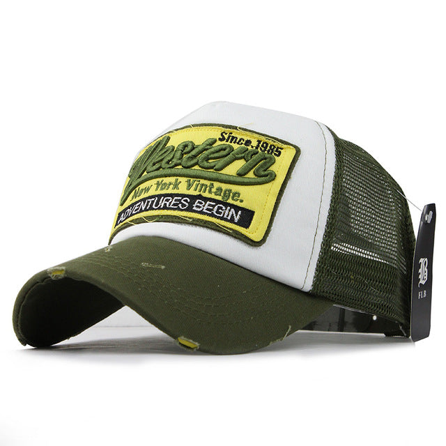 Embroidered Mesh Baseball Cap - Green-Gift-Hut