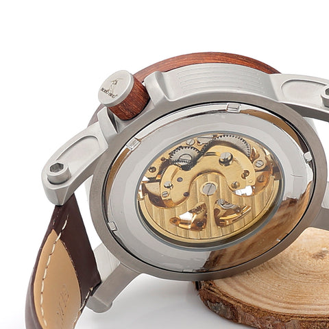 Image of BOBO BIRD Red Sandalwood & Steel Skeleton Watch-Gift-Hut