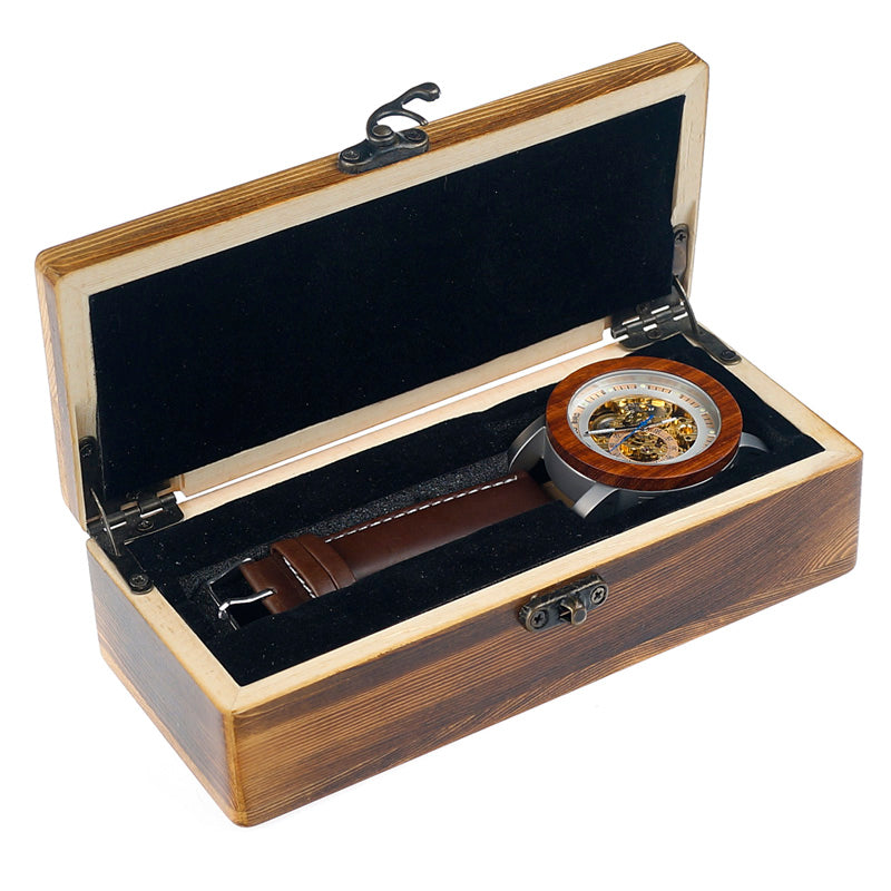 BOBO BIRD Red Sandalwood & Steel Skeleton Watch-Gift-Hut