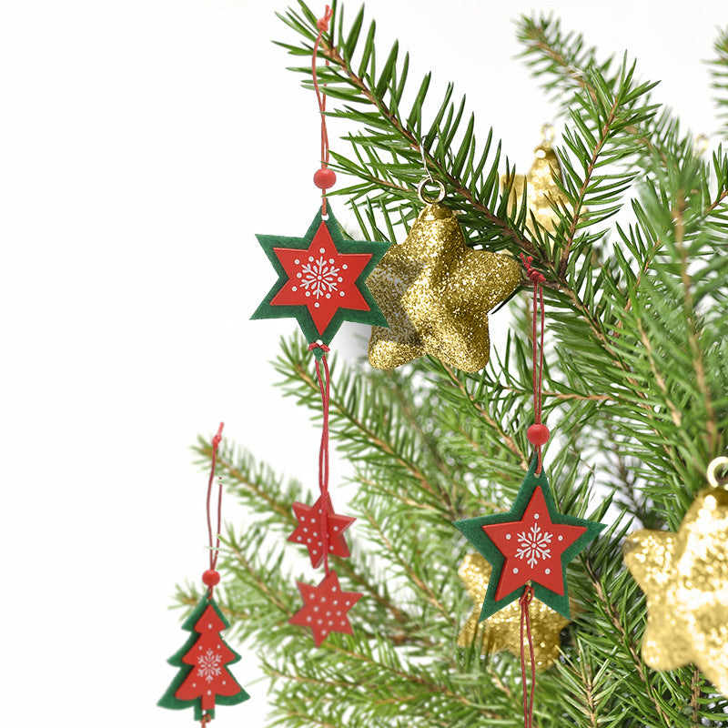 Christmas Tree Hanging Wooden Fabric (12 Pcs)-Gift-Hut