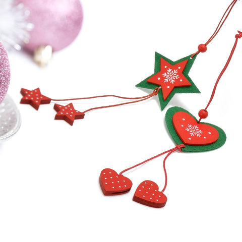 Image of Christmas Tree Hanging Wooden Fabric (12 Pcs)-Gift-Hut