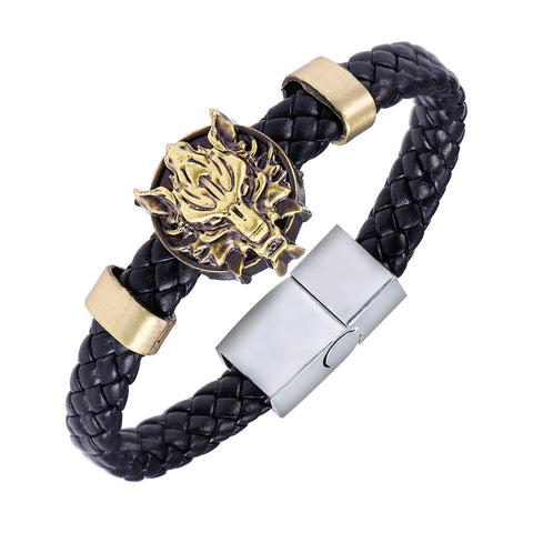Image of Wolf Head Leather Weave Bracelet-Gift-Hut
