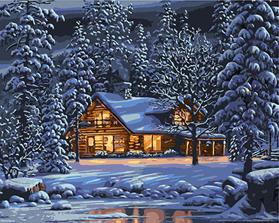 DIY Paint By Numbers - Snow Cabin-Gift-Hut