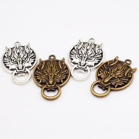 Image of 12Pcs Wolf Head Pendant Charms-Gift-Hut