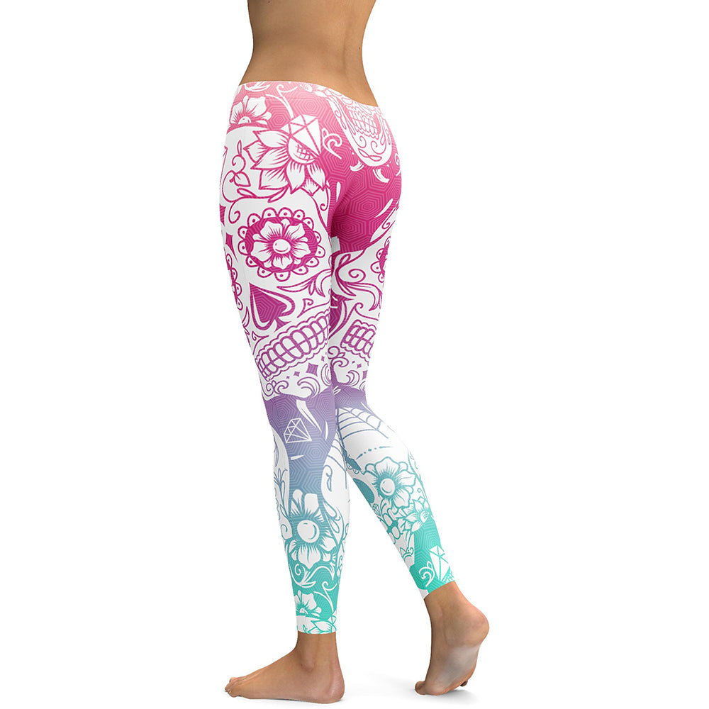 Multi Color Sugar Skull Leggings-Gift-Hut