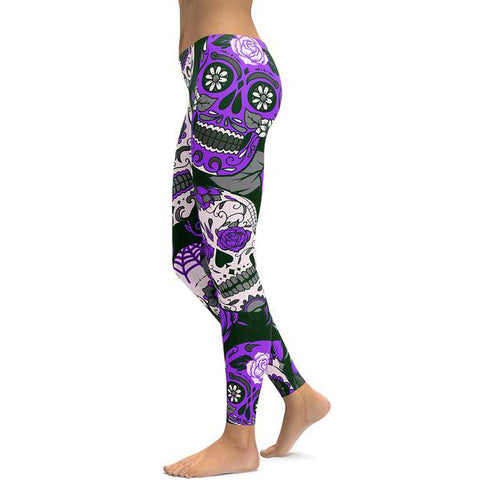 Image of Purple Sugar Skull Leggings-Gift-Hut