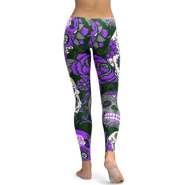 Purple Sugar Skull Leggings-Gift-Hut