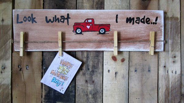 Little Red Truck Children's Artwork Bragging Wood Sign: gift for Grandma,Little Red Truck,