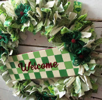 Buffalo Check Welcome Rag Wreath: green