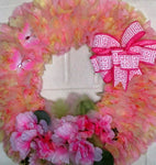 Wreath: , memorial outdoor wreath, rag style wreath