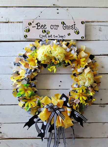Bee Inspired Wreath w/ Bee Wood Sign