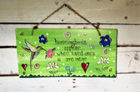 Hummingbird Memorial Wood Sign
