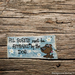 Handmade Wood dog sign/ hand painted dog plaque/ fur children wood sign/