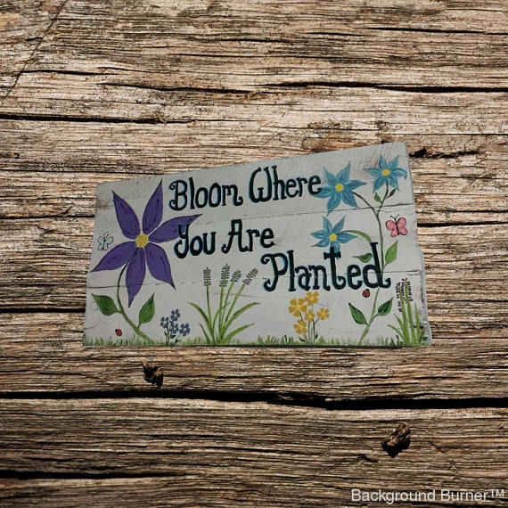"""Bloom where you are Planted"" wood sign/ garden decor/ hand painted wood plaque/ flower wood sign"