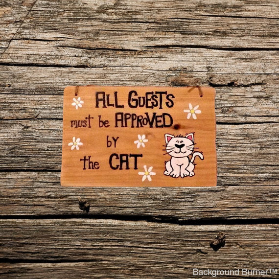 Handmade Wood Cat sign/ crazy cat lady wood plaque/ cat welcome sign