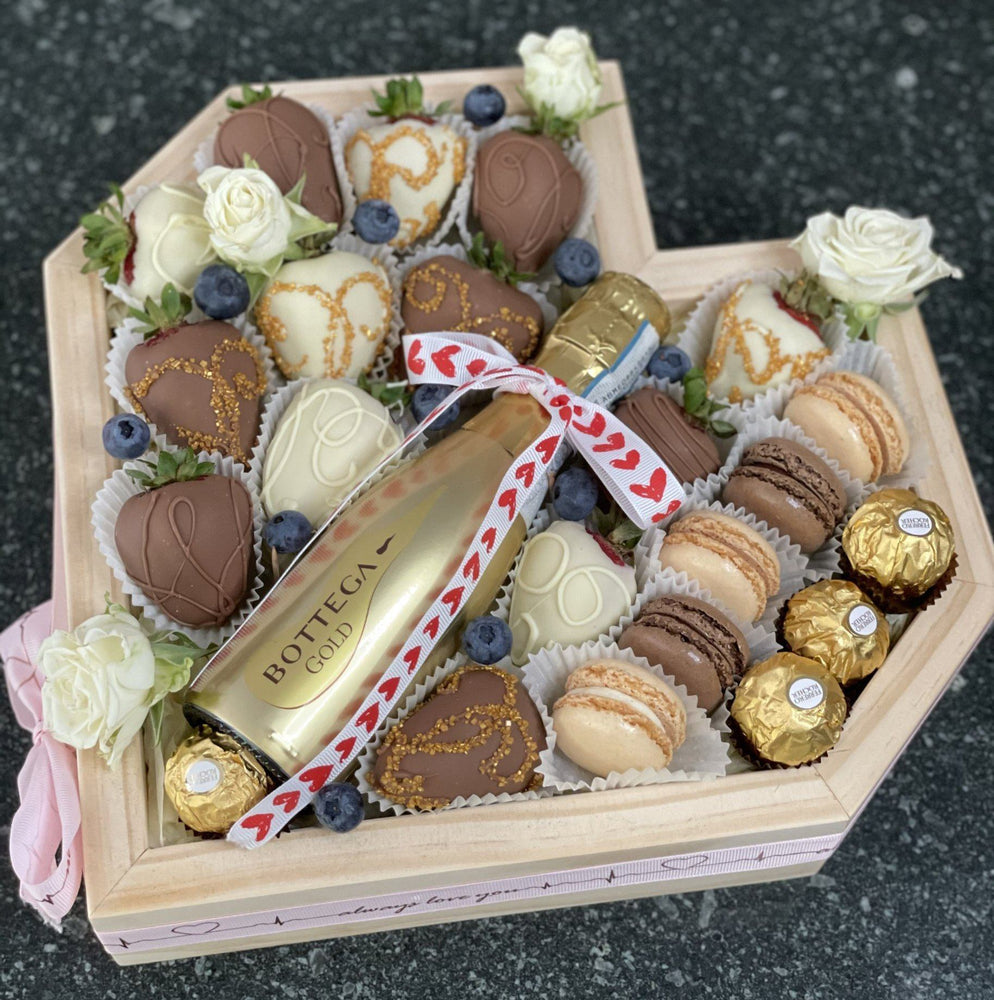 BLOOMS AND  CHOCOLATE TREATS HEART BOX