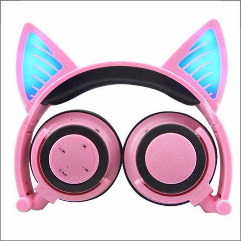 Image of Headphone With Cat Ears - Pink