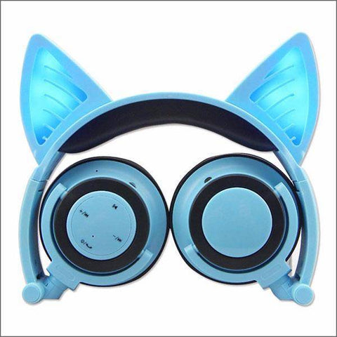 Image of Headphone With Cat Ears - Blue