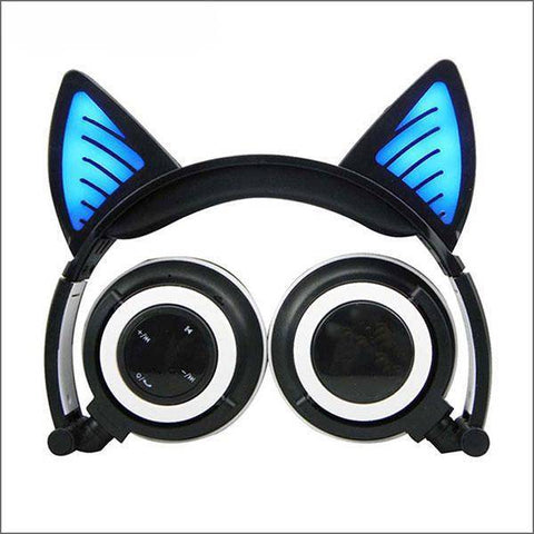 Image of Headphone With Cat Ears - Black