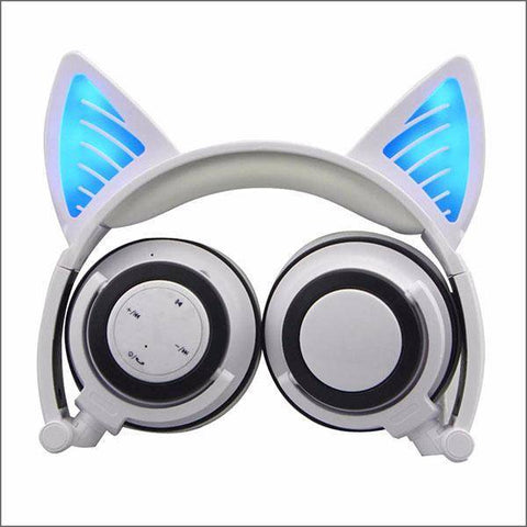 Image of Headphone With Cat Ears - White