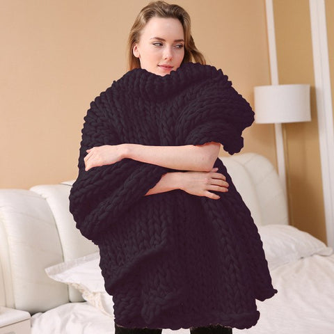 Thick Handmade Knitted Blanket
