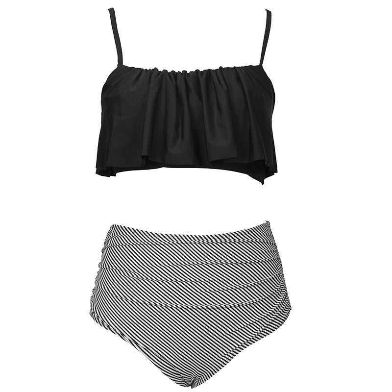 bikini set black ruffled top and striped high waist bottom