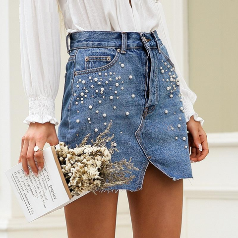 Pearls Slit Denim Skirts