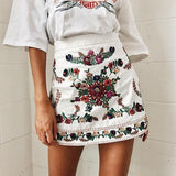 Floral embroidery mini skirts