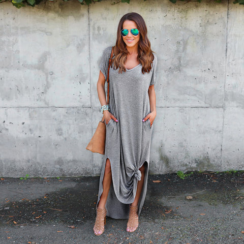 Loose T-shirt Knot Maxi Dress