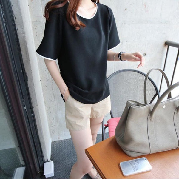 Pipline color O-Neck Tshirt
