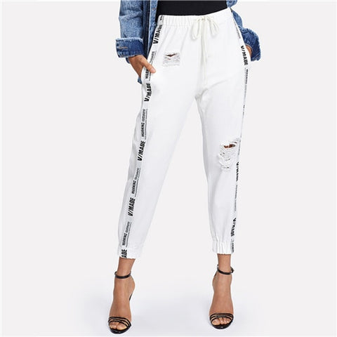 White Denim Joggers Pants